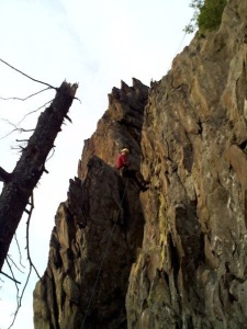 My first rappel at Ravens Nest.